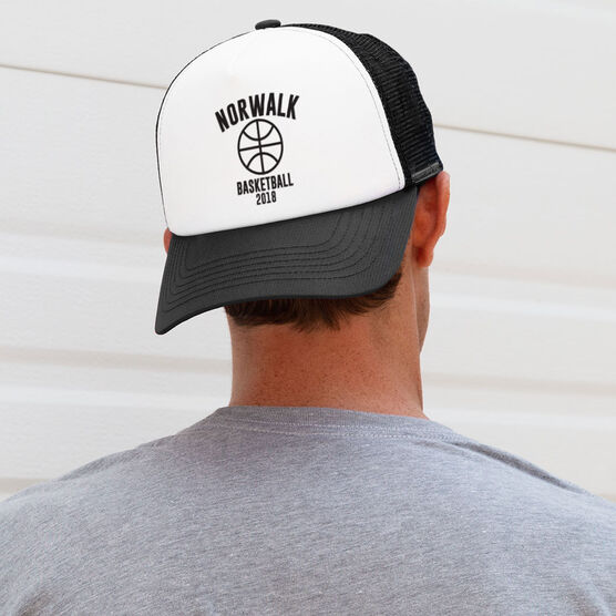 Basketball Trucker Hat - Team Name With Curved Text