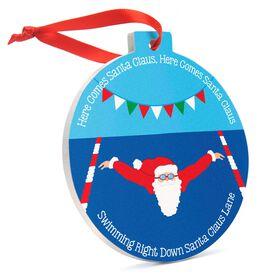Swimming Round Ceramic Ornament - Here Comes Santa Claus