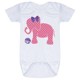 Cheerleading Baby One-Piece - Cheerleading Elephant with Bow