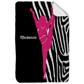 Cheerleading Sherpa Fleece Blanket - Girl with Zebra Stripes