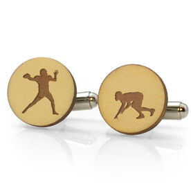 Football Engraved Wood Cufflinks Silhouettes