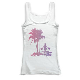 Cheerleading Vintage Fitted Tank Top - Palm Tree Pom Poms