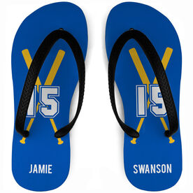 Softball Flip Flops Personalized Player with Bats