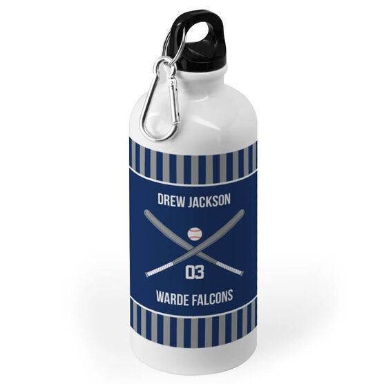 Baseball 20 oz. Stainless Steel Water Bottle - Team with Crossed Bats