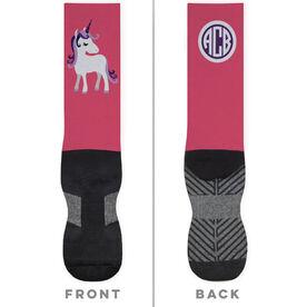 Personalized Printed Mid-Calf Socks - Personalized Unicorn