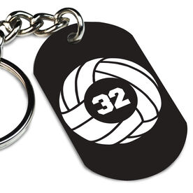 Volleyball Printed Dog Tag Keychain Volleyball Team Number