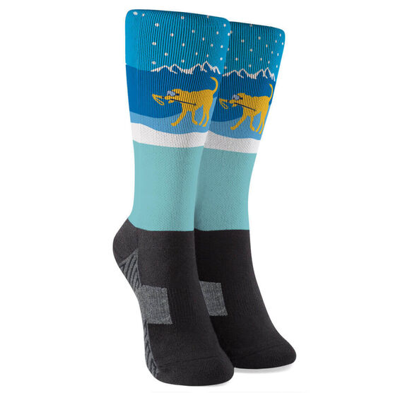 Skiing Printed Mid-Calf Socks - Sven The Ski Dog