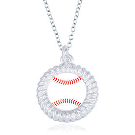 Baseball Braided Circle Necklace - Ball