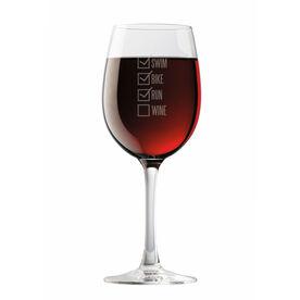 Swim Bike Run Checklist Wine Glass