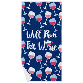 Running Premium Beach Towel - Will Run For Wine