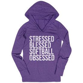 Softball Lightweight Performance Hoodie - Stressed Blessed Softball Obsessed