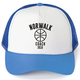 Basketball Trucker Hat - Team Name Coach With Curved Text