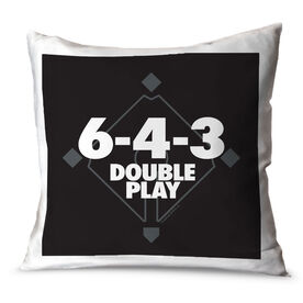 Baseball Throw Pillow 6-4-3 Double Play