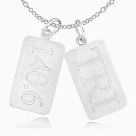 Sterling Silver 140.6 Rectangular Tag Charm and Tri Rectangular Tag Charm Double Charm Necklace