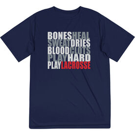 Guys Lacrosse Short Sleeve Performance Tee - Bones Saying