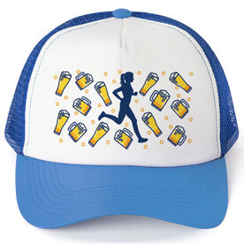 Running Trucker Hat - Beer Glasses Female Runner