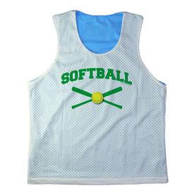 Girls Softball Racerback Pinnie Personalized Softball with Crossed Bats Green
