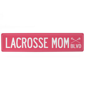 "Guys Lacrosse Aluminum Room Sign - Lacrosse Mom Blvd (4""x18"")"