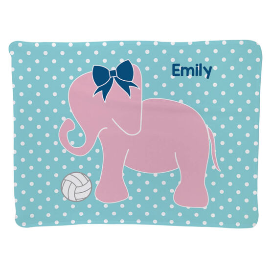 Volleyball Baby Blanket - Volleyball Elephant with Bow