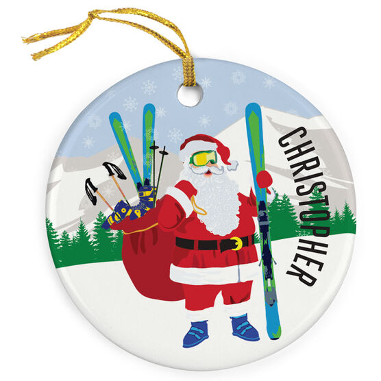 Skiing Porcelain Ornament Skier Santa