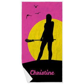 Girls Lacrosse Premium Beach Towel - Personalized Sunset Lax Girl