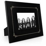 Girls Lacrosse Engraved Picture Frame - Border