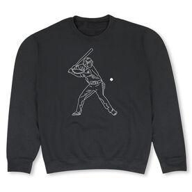 Baseball Crew Neck Sweatshirt - Baseball Player Sketch