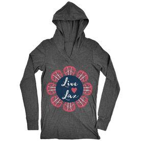 Girls Lacrosse Lightweight Performance Hoodie Live Love Lax Flower