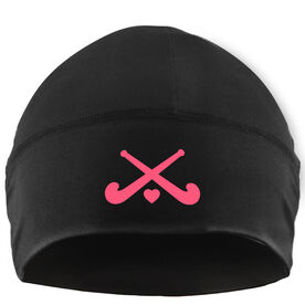 Beanie Performance Hat - Field Hockey Crossed Sticks with Heart