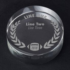 Football Personalized Engraved Crystal Gift - Custom Laurel Wreath