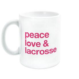 Girls Lacrosse Coffee Mug - Peace Love & Lacrosse