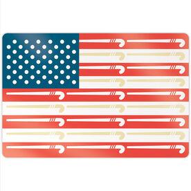 "Field Hockey 18"" X 12"" Aluminum Room Sign - American Flag"