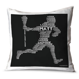 Guys Lacrosse Throw Pillow Personalized Lacrosse Words Player