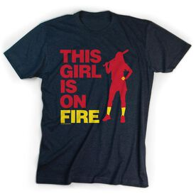 Softball Tshirt Short Sleeve This Girl Is On Fire Batter