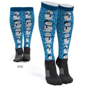Printed Knee-High Socks - Happy Snowmen