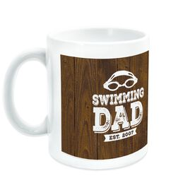 Swimming Coffee Mug Dad With Wood Background