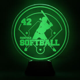 Softball Acrylic LED Lamp Batter With Name and Number