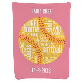 Softball Baby Blanket - Softball Words