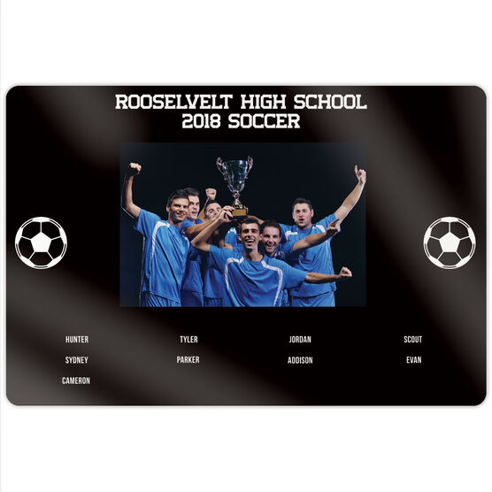 """Soccer 18"""" X 12"""" Aluminum Room Sign - Team Photo With Roster"""