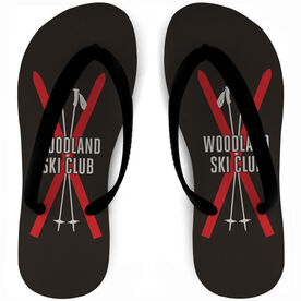 Skiing Flip Flops Team Name Crossed Skis