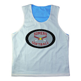 Girls Softball Racerback Pinnie Personalized Softball Team with Crossed Bats Black Gray Red