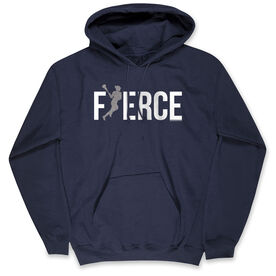 Girls Lacrosse Standard Sweatshirt - Fierce Lacrosse Girl with Silver Glitter