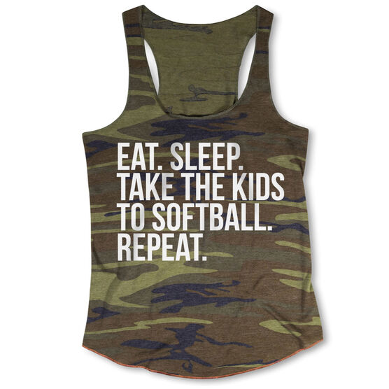 Softball Camouflage Racerback Tank Top - Eat Sleep Take The Kids To Softball