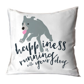 Happiness Is Running With Your Dog Throw Pillow