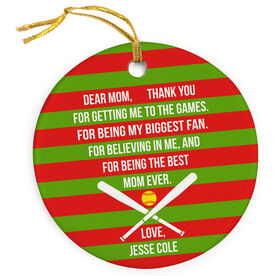 Softball Porcelain Ornament - Dear Mom Heart