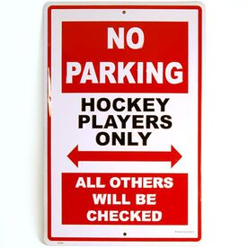 "Hockey Players 18"" X 12"" Aluminum No Parking Sign"