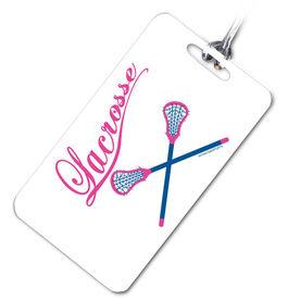 Lacrosse Bag/Luggage Tag Lacrosse Crossed Sticks (Script Letters)