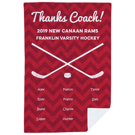 Hockey Premium Blanket - Personalized Thanks Coach Chevron
