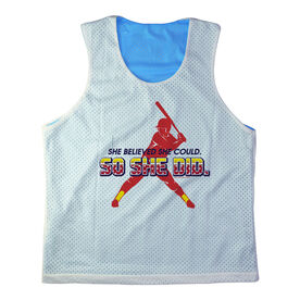 Girls Softball Racerback Pinnie She Believed She Could So She Did