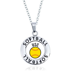 Softball Circle Necklace - Ball With Team Initials